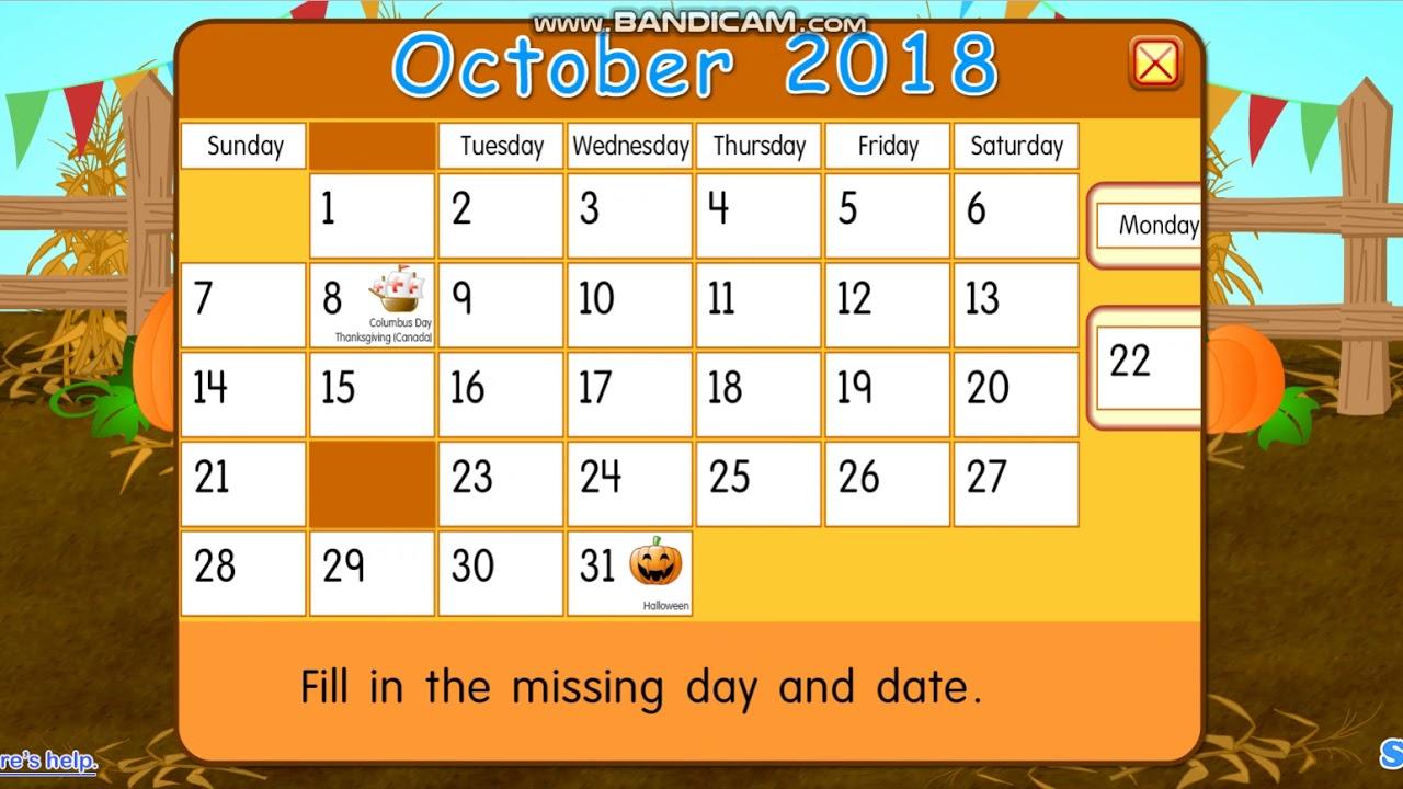 Monday, October 22, 2018 | Daily Calendar For Kids