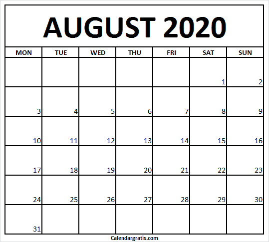 Monday Start August 2020 Printable Calendar Template You