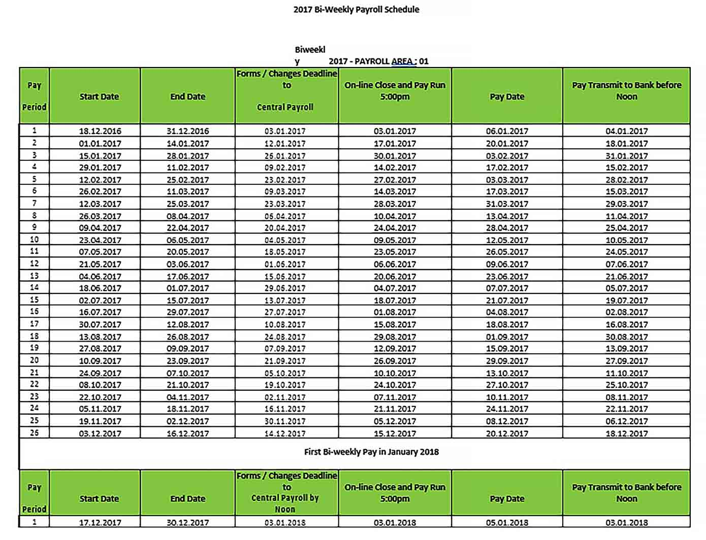 Payroll Schedule Template - Culturopedia