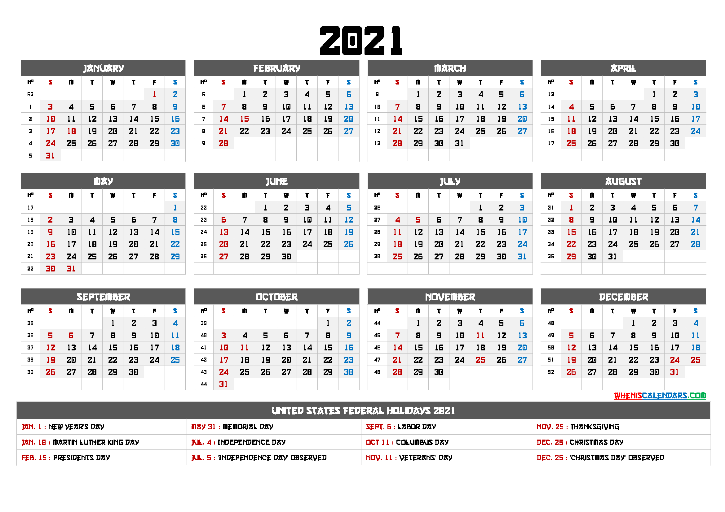 Printable 12 Month Calendar On One Page 2021 - 12 Templates