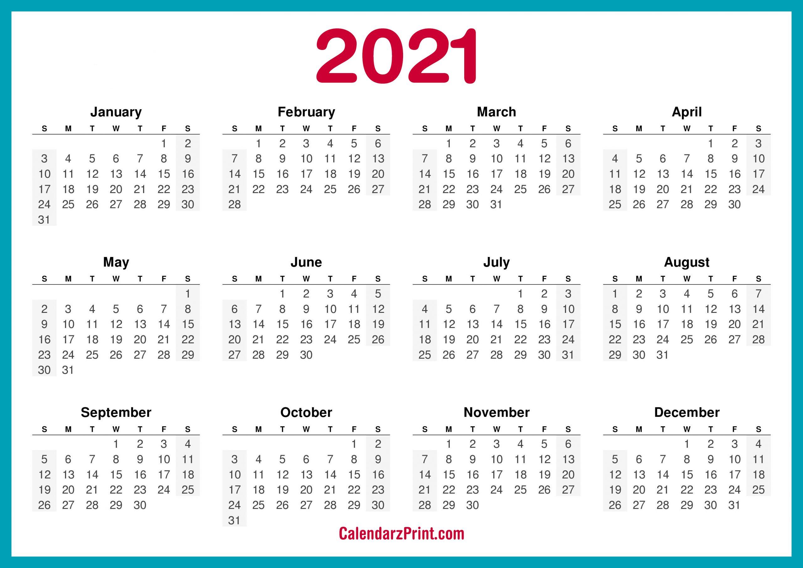 Printable 5 By 8 2021 Calendar / Printable Calendar 2021