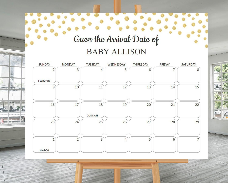 Printable Baby Shower Calander   Calendar Template 2021
