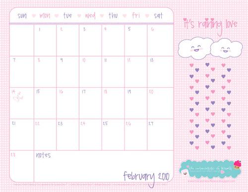 Printable Freebie! Kawaii February 2010 Calendar | Thanks