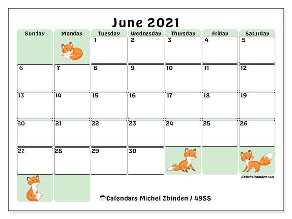 """Printable June 2021 """"49Ss"""" Calendar - Michel Zbinden En"""