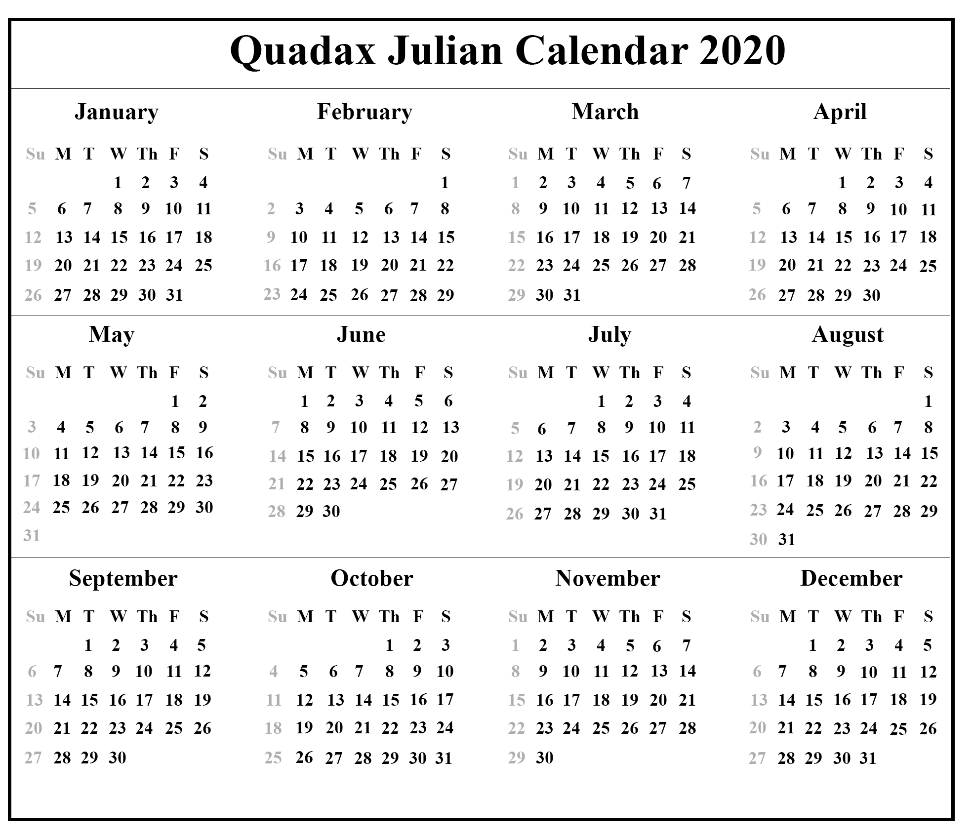 Quadax-Julian-Calendar-2020 | Printable Calendar Diy