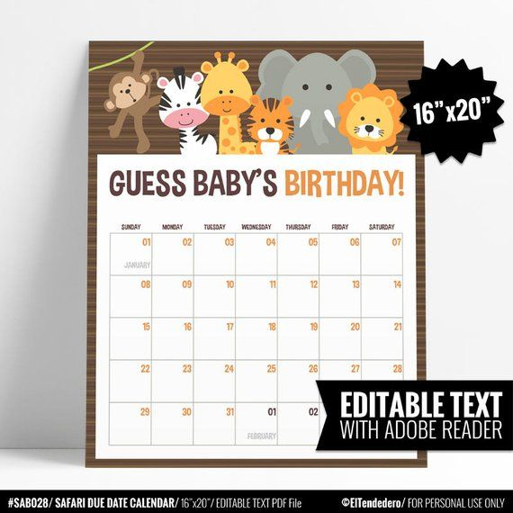 Safari Baby Shower Birthday Prediction Calendar