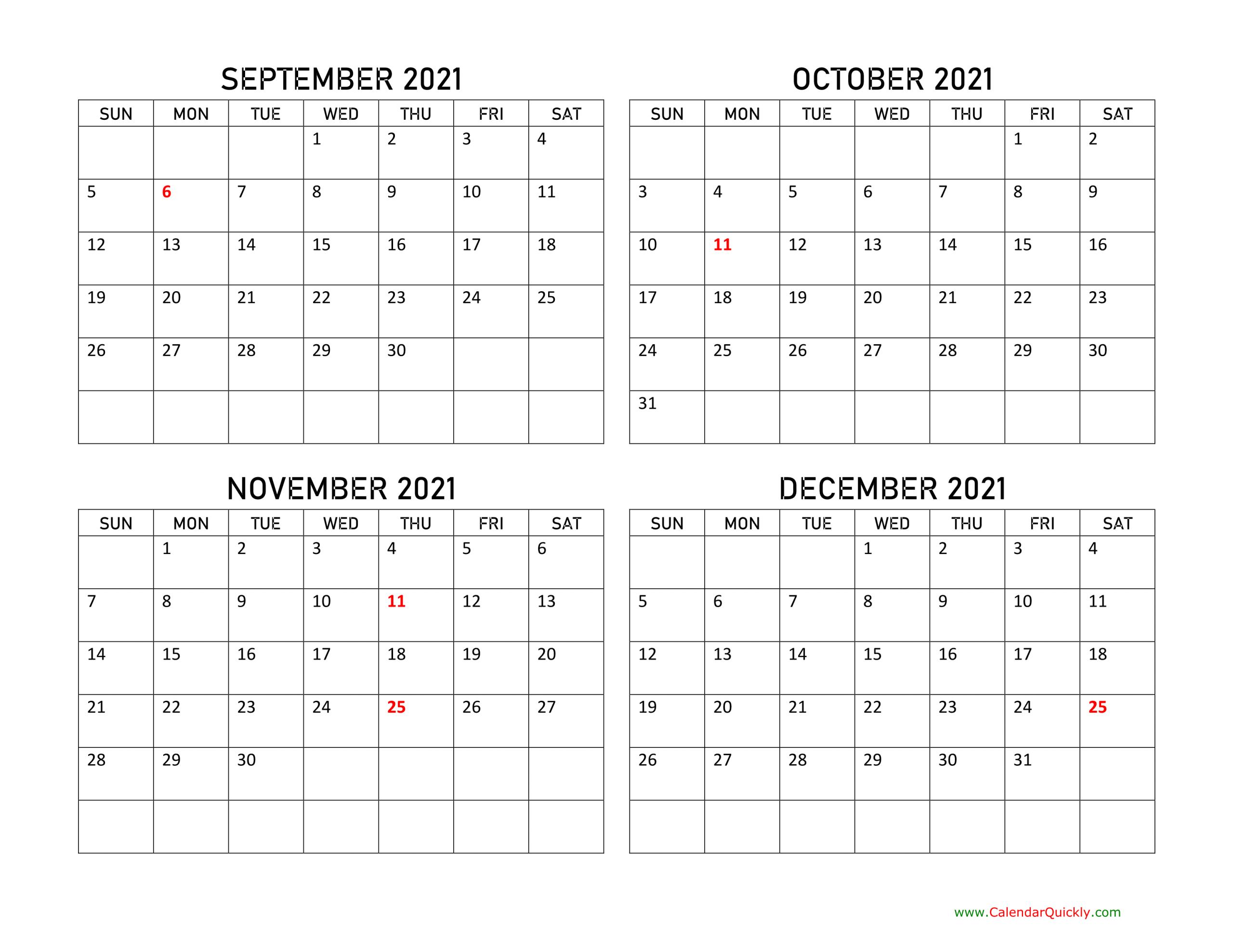 September To December 2021 Calendar   Calendar Quickly