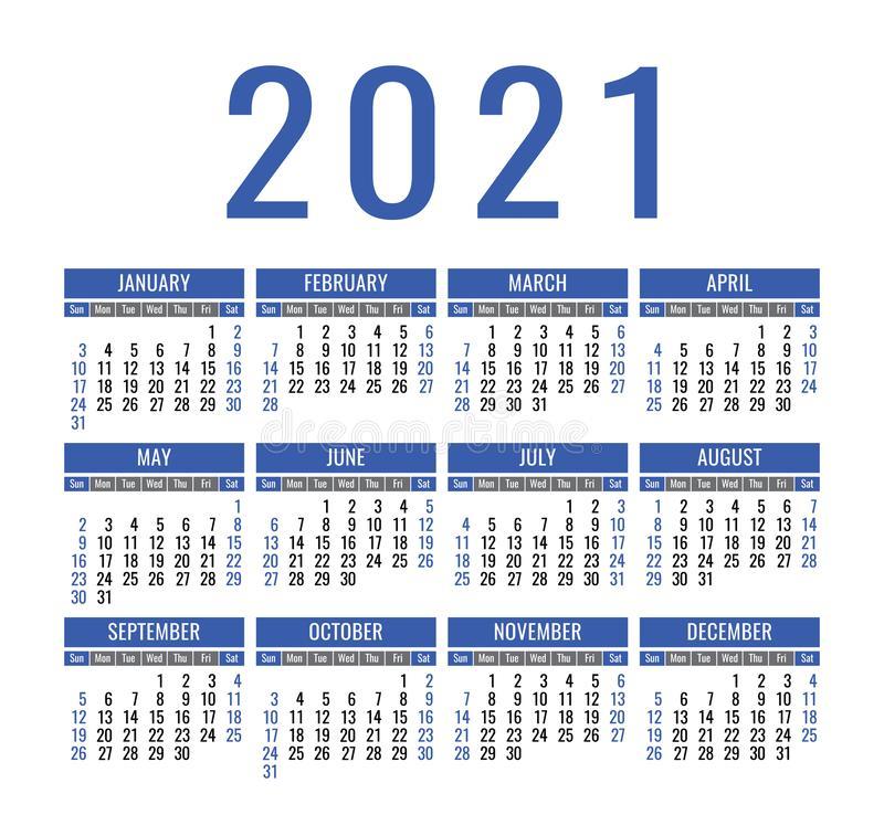 Simple 2021 Year Calendar Stock Vector Illustration Of