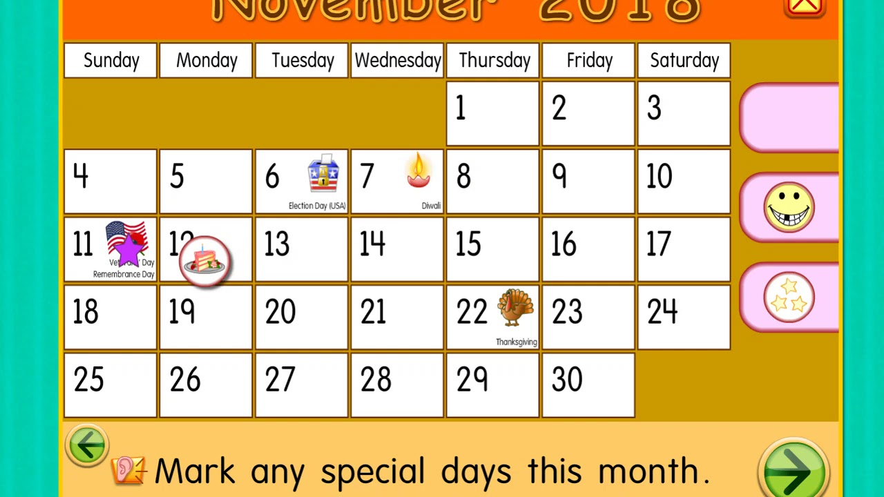 Sunday, November 11, 2018 | Daily Calendar For Kids