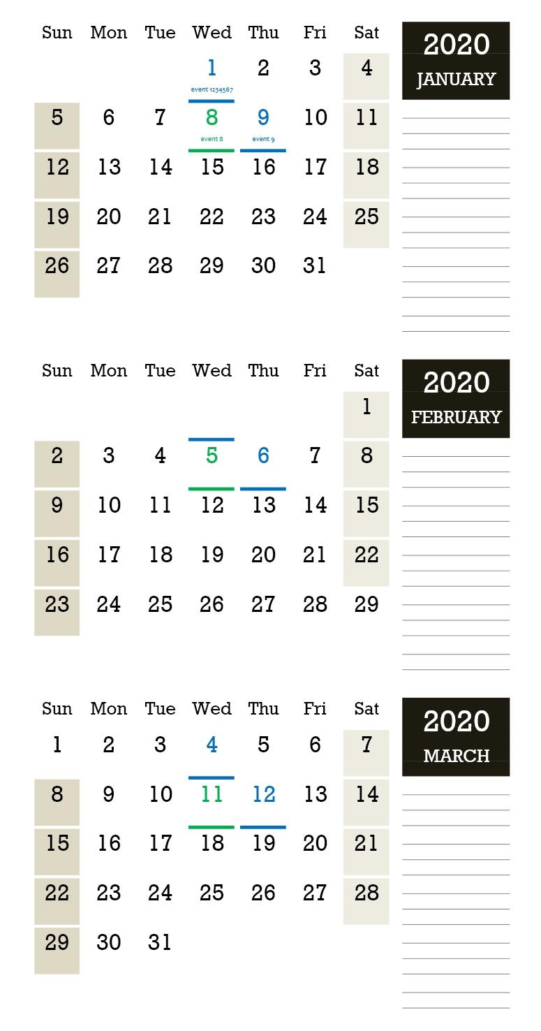 Three-Monthly Calendar » Officetemplates