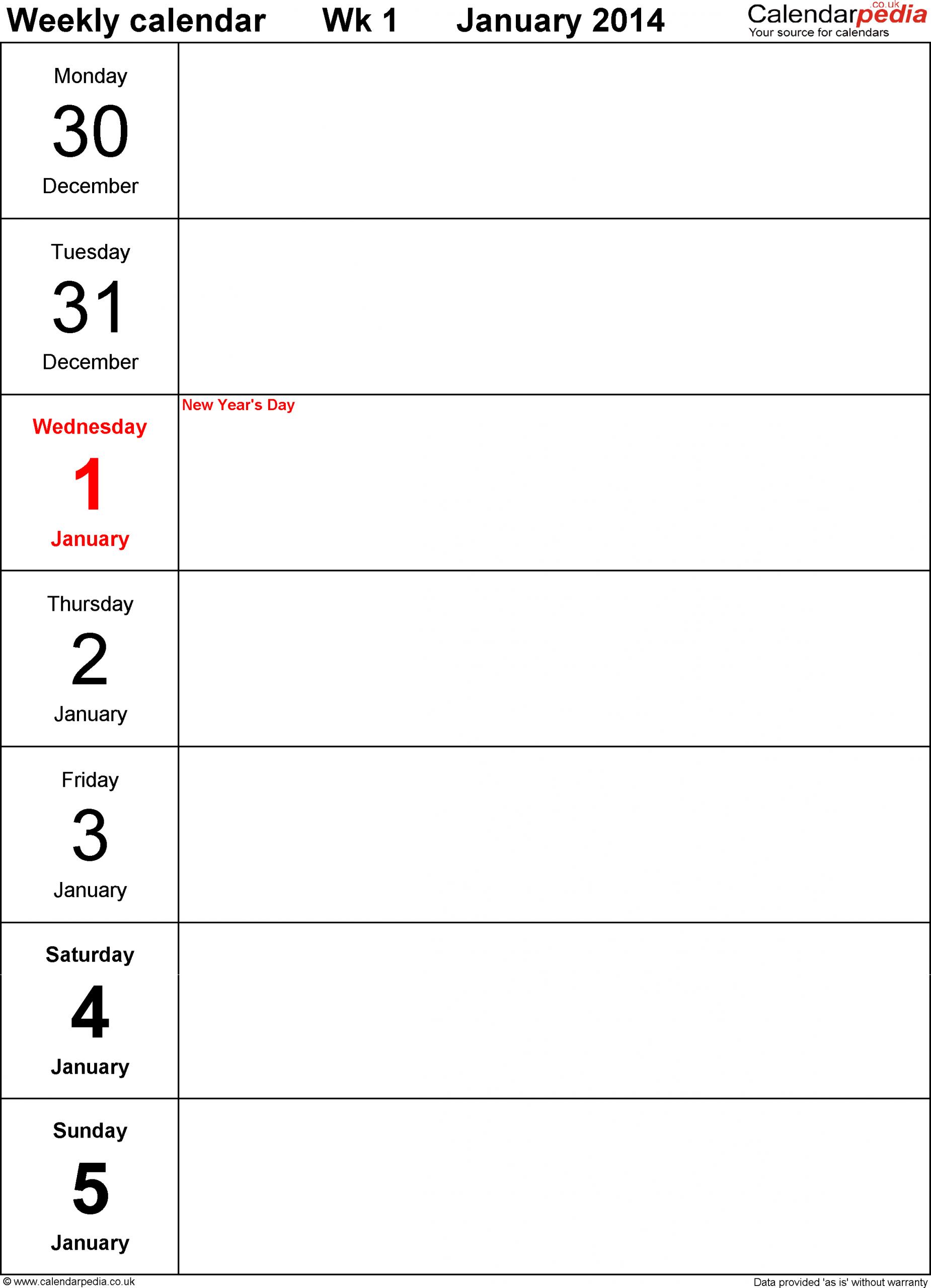 Weekly Calendar 2014 Uk - Free Printable Templates For Pdf
