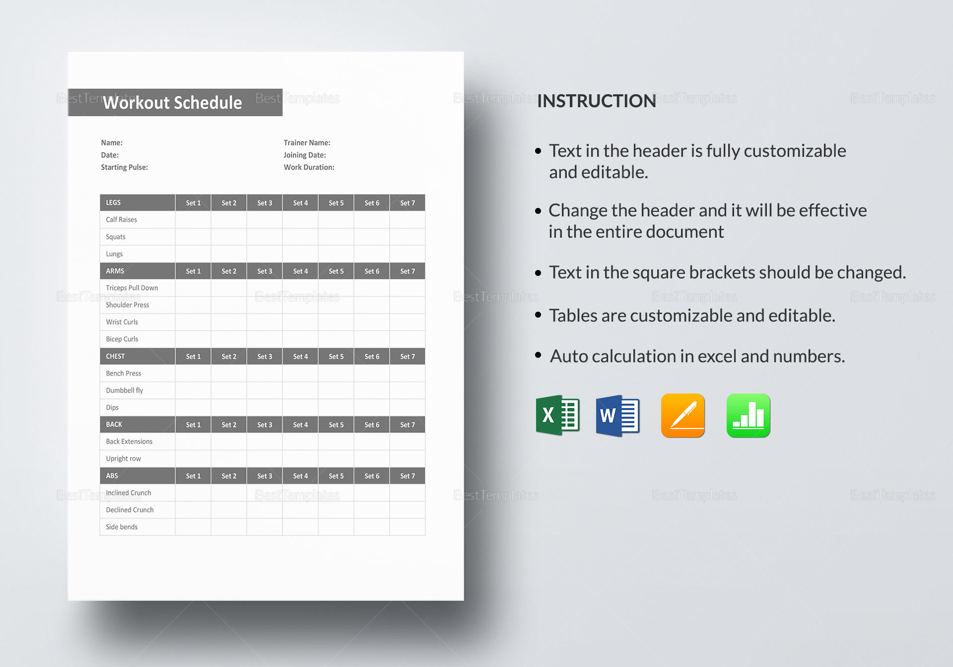 Weekly Workout Schedule Template In Word, Excel, Apple